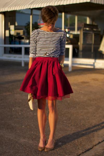navy striped Rodarte for Target shirt - brick red Gap skirt
