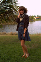 vintage dress - vintage cardigan