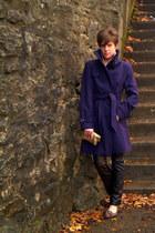 deep purple Worthington coat - black thrifted Gap pants