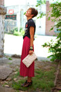 White-bag-black-call-it-spring-wedges-hot-pink-skirt-black-t-shirt