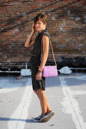 heather gray Converse sneakers - black polka dot dress - light purple bag