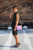 heather gray Converse sneakers - black polka dot dress - light purple bag