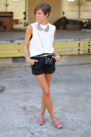 vintage shoes - white shirt - black bag - black shorts