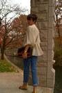 Brown-tweed-vintage-blazer-gap-jeans-vintage-dooney-and-bourke-bag