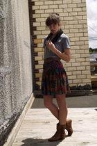 vintage skirt - American Apparel t-shirt - Steve Madden boots