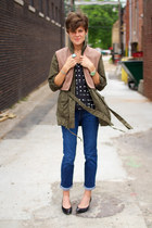 army green jacket - calvin klein jeans - black blouse - tan vest - black pumps