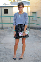 black polka dot skirt - heather gray American Apparel shirt - black flats