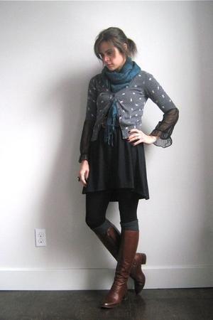 vintage dress - vintage belt - vintage boots - UO scarf - Target cardigan