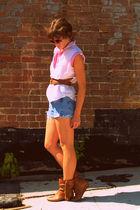 vintage shirt - vintage levi cut offs shorts - Steve Madden boots