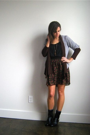 vintage boots - Target skirt - Target shirt - Forever 21 cardigan - thrifted car