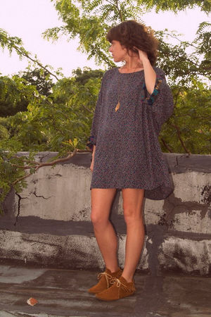 gray dress - vintage moccasins shoes