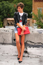 black faux leather H&M jacket - red bag - Levis shorts