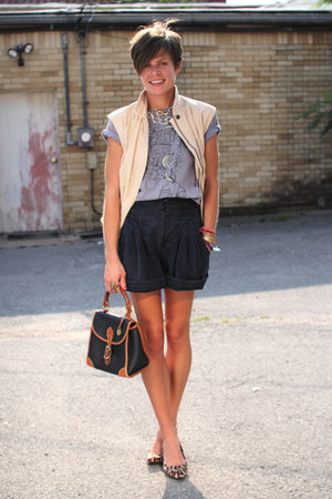 eggshell vest - navy Dooney & Bourke bag - navy shorts - tan leopard print heels