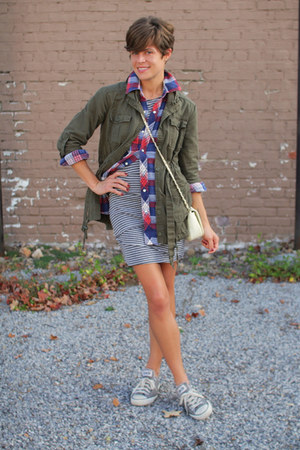 silver striped Sugarlips dress - army green jacket - navy plaid shirt