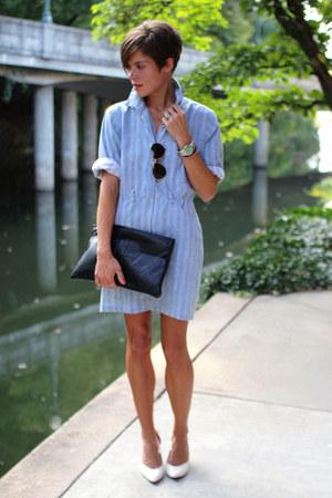 black bag - light blue dress - white heels