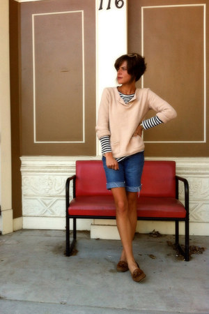blue cut-offs dvf shorts - neutral thrifted sweater - Rodarte for Target shirt