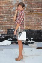 leopard vintage skirt - vintage bag - nude heels - plaid vintage blouse