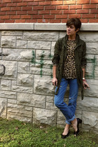 army green jacket - black vintage ferragamo shoes - Gap jeans
