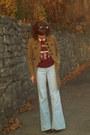 Brown-charlotte-russe-coat-vintage-jeans-crimson-vintage-sweatshirt