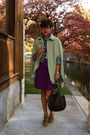 Light-brown-h-by-hudson-boots-purple-gap-dress-levis-jacket
