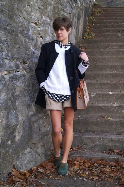 tan shorts - green Kate Kanzier shoes - black jacket - white sweater