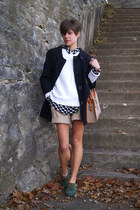 tan shorts - green Kate Kanzier shoes - black jacket - white sweater