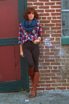 thrifted shirt - Topshop jeans - vintage boots - handmade scarf