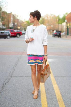 vintage skirt - white sweater - Dooney & Bourke bag - camel flats