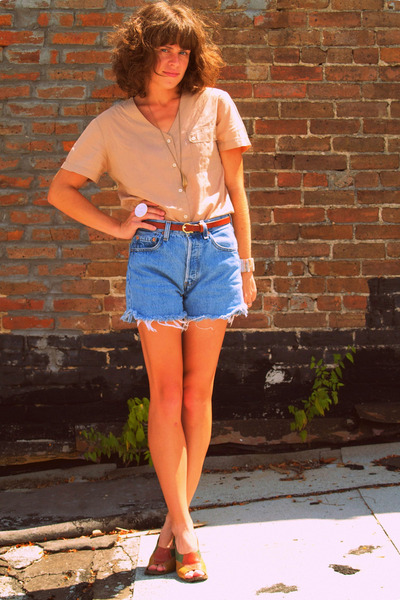 vintage blouse - vintage levi cut-offs shorts - vintage shoes