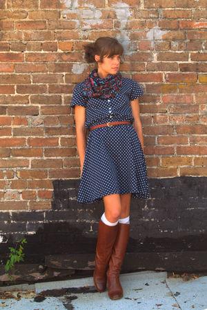 vintage scarf - vintage boots - vintage dress