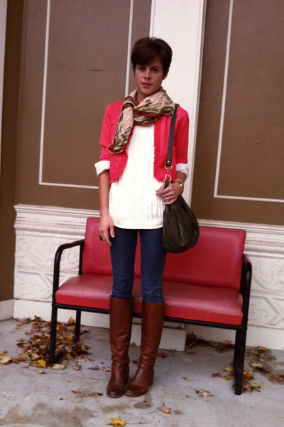 ivory JC Penney blouse - vintage boots - coral vintage jacket
