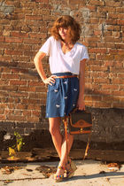 Gap t-shirt - vintage skirt - cynthia vincent for target wedges shoes