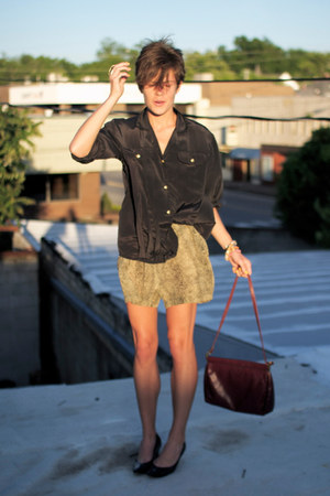 black shoes - crimson bag - tan leopard print shorts - black vintage blouse