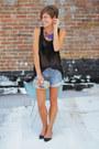 Silver-vintage-gucci-bag-levis-shorts-black-flats-black-blouse