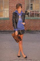 black faux leather H&M jacket - brown leopard print bag