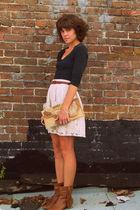 black shirt - Urban Outfitters skirt - Steve Madden boots