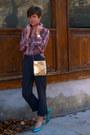 Gold-vintage-bag-turquoise-blue-vintage-nine-west-pumps-charcoal-gray-pants