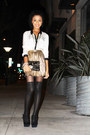 Gold-f21-skirt-black-armani-exchange-clutch-bag-black-heels