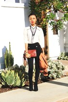 black boots - black H & M leggings - tawny Blazer blazer - brick red vintage bag