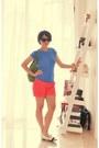 Kate-spade-bag-coral-zara-shorts-varina-salvatore-ferragamo-flats