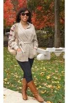 beige vintage store Gap sweater - brown riding Aldo boots - blue bulldog jeans