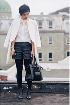 white Zara coat - white shirt - black shorts