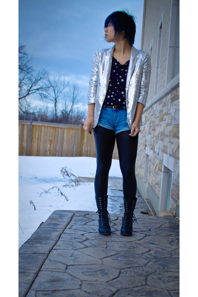 silver Forever21 blazer - blue French Connection shirt - blue Forever21 shorts -