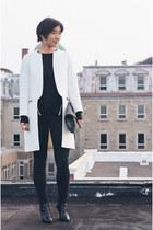 white Zara coat - black Cheap Monday jeans - black American Apparel bag