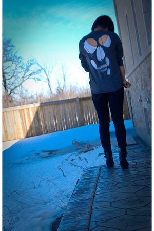 gray DIY shirt - black DIY jeans - white Forever21 top - black Forever21 boots