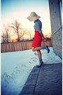 Gray-forever-21-shirt-orange-smartset-skirt-gray-socks-beige-smartset-hat-