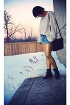 white Urban Outfitters shirt - blue Forever21 shorts - gold American Apparel leg