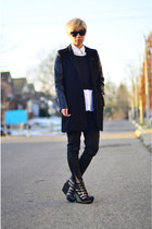 black Taobao coat - black Zara jeans - black Jeffrey Campbell wedges