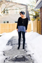 heather gray American Apparel dress - black H&M sweater - dark gray sunglasses -