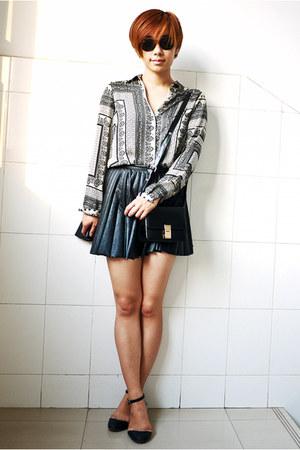 black Zara shirt - black Taobao bag - black H&M skirt - black Taobao flats